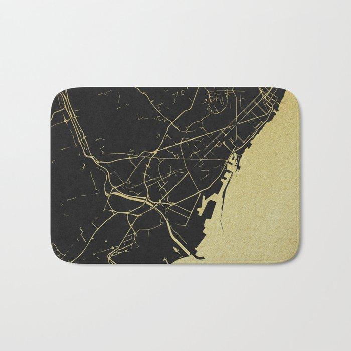 Barcelona Black and Gold Map Bath Mat