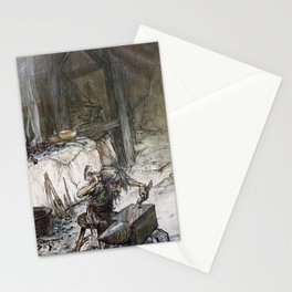 Arthur Rackham - Siegfried and the Twilight of the Gods (1911) - Mime at the anvil Stationery Cards