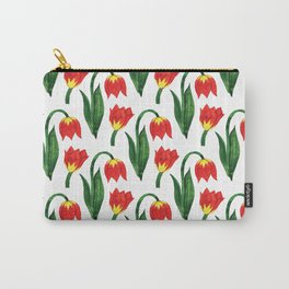 Hand painted orange yellow green watercolor tulips Carry-All Pouch