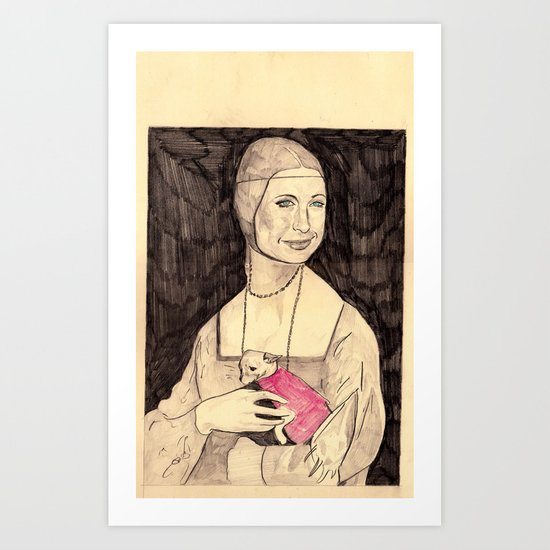 "Paris Hilton as the ""Lady with an Ermine"" Art Print"