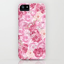 Hand painted white blush pink  coral floral iPhone Case