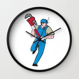 Plumber Running Monkey Wrench Cartoon Wall Clock