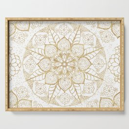 Stylish boho hand drawn golden mandala Serving Tray
