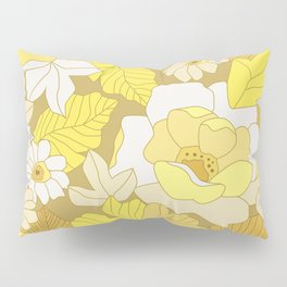 Yellow, Ivory & Brown Retro Flowers Pillow Sham