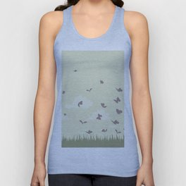 flying butterflies on a green landscape with sun Unisex Tank Top