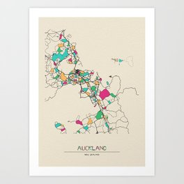 Colorful City Maps: Auckland, New Zealand Art Print