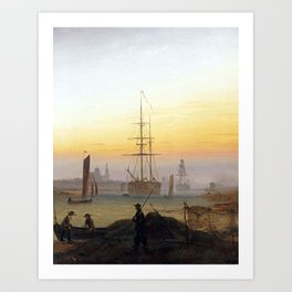 Caspar David Friedrich Ships in the Harbor of Greifswald Art Print