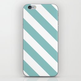 Chalky Blue Diagonal Stripes iPhone Skin