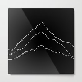 Tallest Mountains in the World / Mt Everest K2 Kanchenjunga / B&W Minimalist Line Drawing Art Print Metal Print