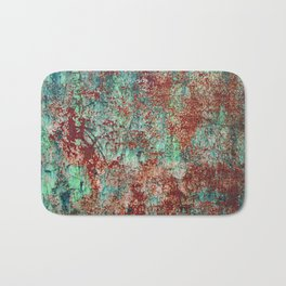Abstract Rust on Turquoise Painting Bath Mat