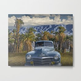 Vintage Blue Plymouth Automobile against Palm Trees and Cloudy Blue Sky near Palm Springs California Metal Print
