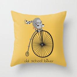 old school biker Throw Pillow