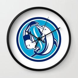 Free Diver and Dolphin Yin Yang Circle Retro Wall Clock