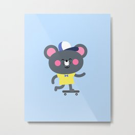 Cool Skateboard Mouse Metal Print