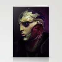 mass effect Stationery Cards featuring Mass Effect: Thane Krios by Ruthie Hammerschlag