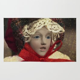 Red hat vintage Christmas doll Rug