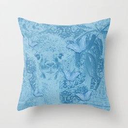 Ghostly alpaca with butterflies in snorkel blue Throw Pillow
