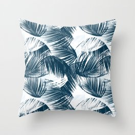 Blue Palm Leaves Throw Pillow