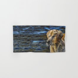 One Wet Golden Retriever by Teresa Thompson Hand & Bath Towel
