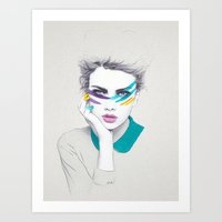 war Art Prints featuring War Paint Sally by Jenny Liz Rome