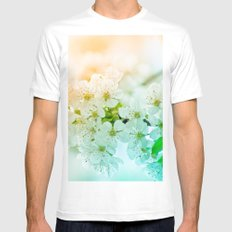 cherry blossom White MEDIUM Mens Fitted Tee