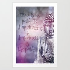 Buddha Path to Happiness   inspirational Typography Art Print