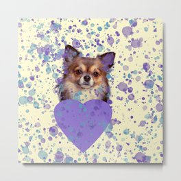 Watercolor Ultra Violet Splattering Dog Lovers Metal Print