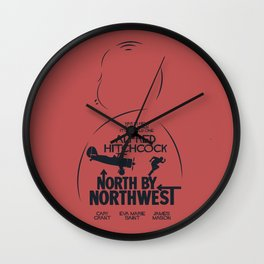 North by Northwest, Alfred Hitchcock, minimal movie poster, classic film, Cary Grant, alternative Wall Clock