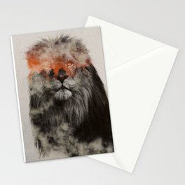 Lion In Fog Stationery Cards