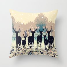 Deer in the snowy forest Throw Pillow