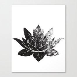 Boho - black and white lotus Canvas Print