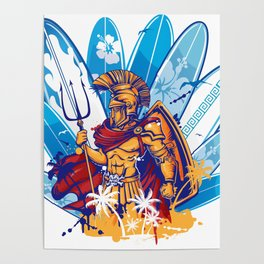 poseidon surfer with surfboard background Poster