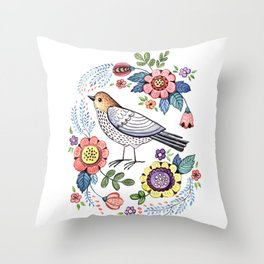 Romantic singing bird with flowers Throw Pillow