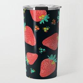 Strawberries | Black Travel Mug