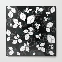 Flying Leafs in black Metal Print