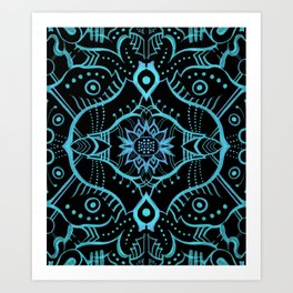 Lotus Flower Mandala Arabesque Pattern Turquoise Art Print
