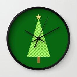 Lime Green Polka Dot Modern Christmas Tree Wall Clock