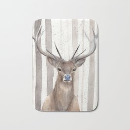 """Watercolor Painting of Picture """"Deer in Winter Forest"""" Bath Mat"""