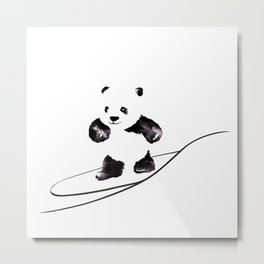 Surfing Panda Metal Print