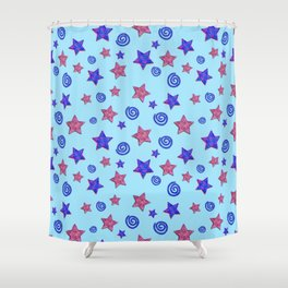 Colorful Stars and Spirals Shower Curtain