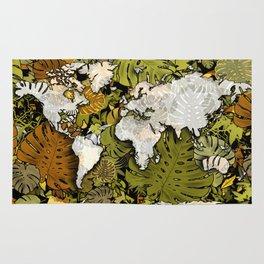world map tropical leaves 5 Rug