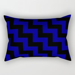 Black and Navy Blue Steps LTR Rectangular Pillow