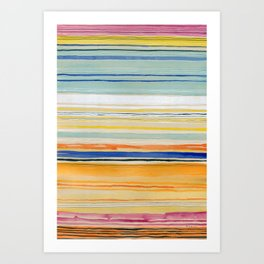 Strata -abstract watercolor stripes Art Print