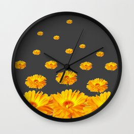 FLOATING YELLOW FLOWERS CHARCOAL GREY Wall Clock