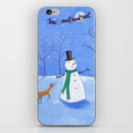 Christmas Snowman wth Fox iPhone Skin