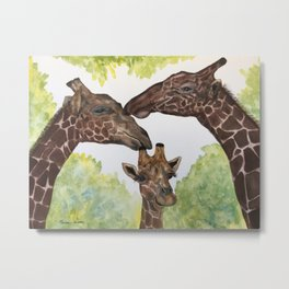 Giraffe Love by Maureen Donovan Metal Print