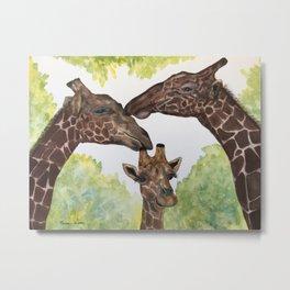 Giraffe Love by Maureen Donovan Metal Print
