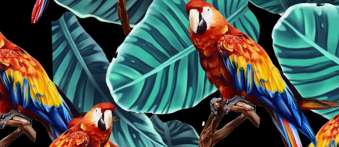 tropical leaves macaw pattern 2 Coffee Mug