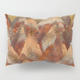 Abstract Copper  Gold Glitter Mountain Dreamscape Pillow Sham