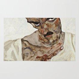 Egon Schiele - Self Portrait With Lowered Head Rug